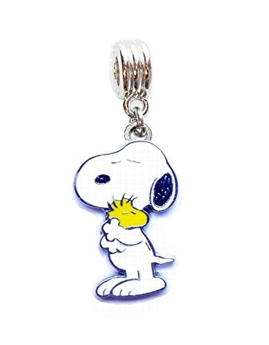 - SNOOPY LOVES WOODSTOCK PEANUTS CHARM SLIDER PENDANT ADD TO YOUR NECKLACE DIY PROJECTS ETC