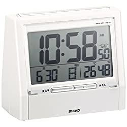 SEIKO CLOCK ( Seiko clock ) alarm clock digital TALK LINER talk liner radio clock thermometer hygrometer DA206W white pearl with audio report at the time function paint