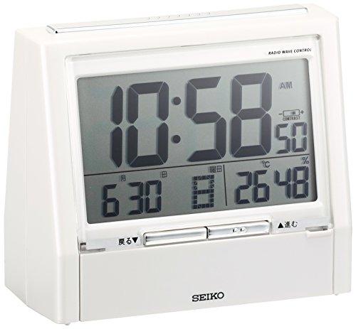 세이코 알람 시계 토크 라이너 음성 경보 이중 언어 전환 일정 온도 습도 표시 전파 디지털 DA206 (2색상)