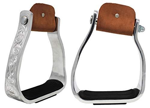 (PRORIDER Western Show Horse Saddle Barrel Angled Sloped Bell Aluminum Stirrups 5140)