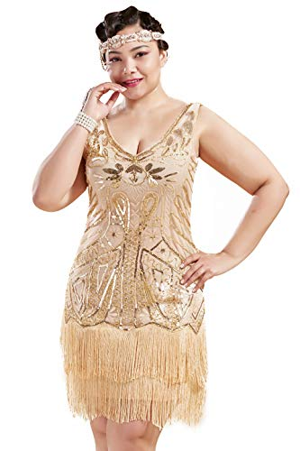 BABEYOND Women's Plus Size Flapper Dresses 1920s V Neck Beaded Fringed Great Gatsby Dress (Champagne & Gold, 1X Plus) -