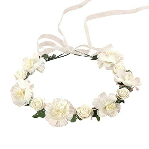 Irregular Faux Rose Flower Headband Gradient Colored Wreath Crown Mesh Headpiece (Color - White)