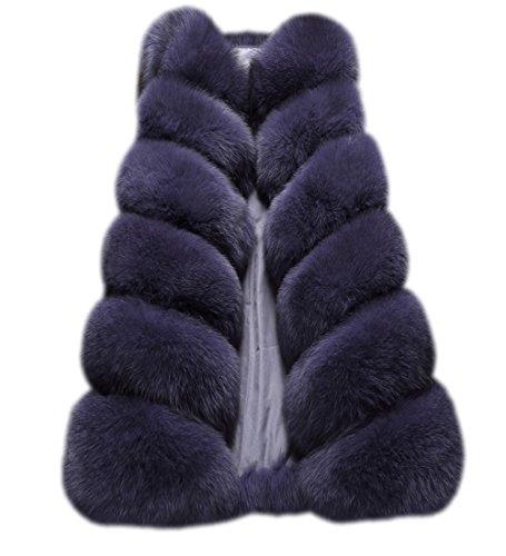 FOLOBE - Abrigo de invierno para mujer, de piel sintetica azul oscuro L