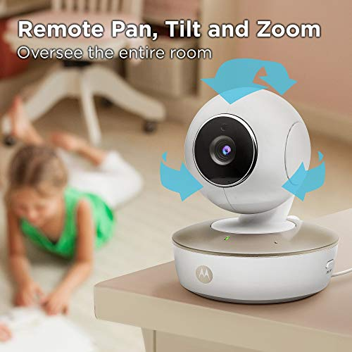 41m4tBhn3iL - Motorola Video Baby Monitor - 2 Wide Angle HD Cameras With Infrared Night Vision And Remote Pan, Tilt, Zoom - 5-Inch LCD Color Display With Split Screen View, Room Temperature And Sound Alert MBP50-G2