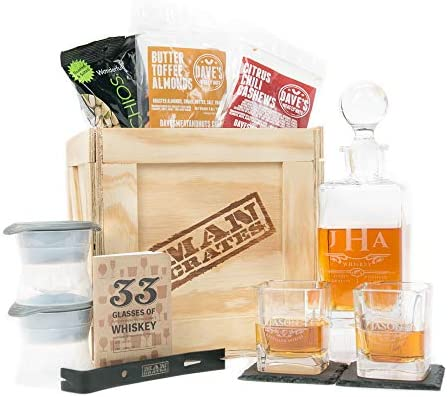 Amazon.com   Man Crates Whiskey Appreciation Crate – Includes Personalized  Hand-Made Whiskey Decanter, Glasses, Ice Sphere Molds, Coasters and More –  Great Gifts for Men: Liquor Decanters