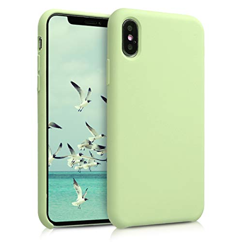 kwmobile TPU Silicone Case for Apple iPhone Xs - Soft Flexible Rubber Protective Cover - Pistachio Green