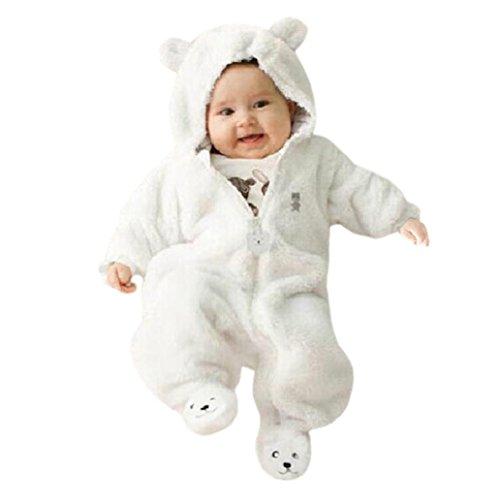 Lanpan Newborn Baby Infant Boy Girl Bear Hoodie Jumpsuit Romper (3M, white)