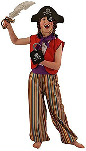 [Stage-Panto-World Book Day-Neverland-Pan-Treasure Island STRIPE PIRATE Child's Fancy Dress Costume - All Ages (AGE] (Panto Costumes For Kids)