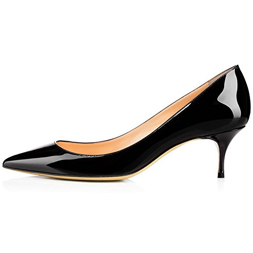 Kmeioo Pumps for Women, Women's Slip On Kitten Heels Pointed Toe Low Heels Office Pumps-Black 9M