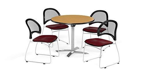 OFM PKG-BRK-169-0059 Breakroom Package, Oak Table/Burgundy Chair by OFM