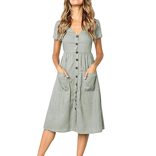 XINHUXIN Women Casual Dress,Solid V Neck Buttons Short Sleeve Knee Length Loose Dress with Pockets Gray