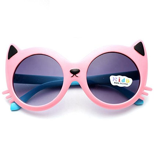 P & R Child Sun Glasses Kids Fshion Girl's Cute Candy Color Cartoon Kitty Goggles - Sunglasses Cartoon Sun