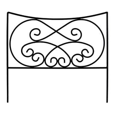 (BestNest Set of 12 Panacea Black Crossing Scrolls Border Fence Sections, 16