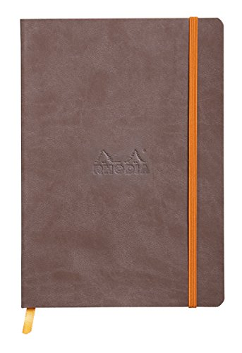 Rhodiarama Rodia Leather Softcover A5 Chocolate Notebook - Dotted Pages - 5.5 x 8.3 Inches