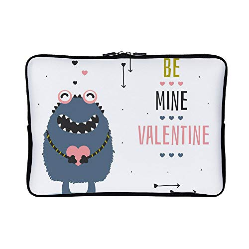 DKISEE Abstract Be Mine Valentine Card Neoprene Laptop Sleeve Case Waterproof Sleeve Case Cover Bag for MacBook/Notebook/Ultrabook/Chromebooks - Beanie 09