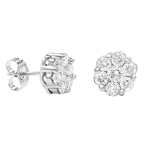 - AGS Certified 1ct TW Round Diamond Flower Stud Earrings in 10K White Gold