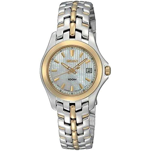(Seiko Women's SXDB88 Dress Two-Tone Solid Stainless-Steel Case and Bracelet White Mother-of-Pearl Dial Watch)