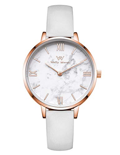 (Welly Merck Womens Watch Stainless Steel Marble Dial Classy 32MM Minimalistic Swiss Quartz Movement Sapphire Crystal Wrist Watch with Interchangeable Strap,5ATM Water Resistant)