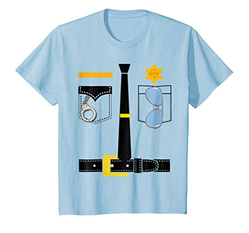 Kids Police Uniform Costume Halloween Kids T-Shirt 6 Baby Blue