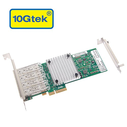 10Gtek Intel 82580 Chipset 1G Ethernet Server Adapter (NIC), Quad SFP Port, PCIE 2.0, Same as I340-F4 by 10Gtek