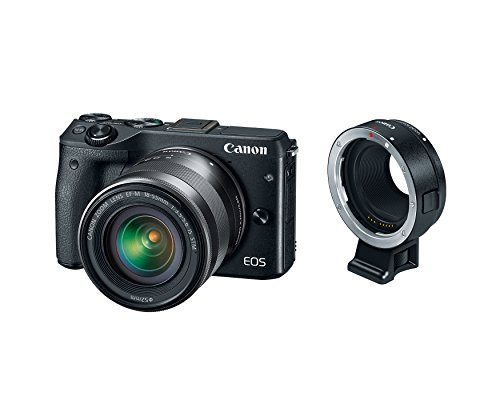 Canon EOS M3 Mirrorless Camera Kit with EF-M 18-55mm Image Stabilization STM Lens and Mount Adapter EF-EOS M - Wi-Fi Enabled (Black)