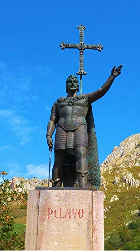 Home Comforts Peel-n-Stick Poster of Conqueror Statue Ovadonga King Pelayo Asturias Vivid Imagery Poster 24 x 16 Adhesive Sticker Poster Print