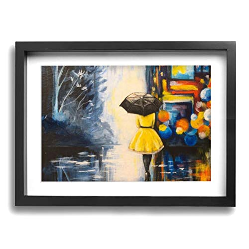 (CLLSHOME 12x16 Inches Wall Decor Toilet Bathroom Framed Art Print Picture Girl in Yellow Dress Black Umbrella City Lights at Night Wall Art for Home Decorations)