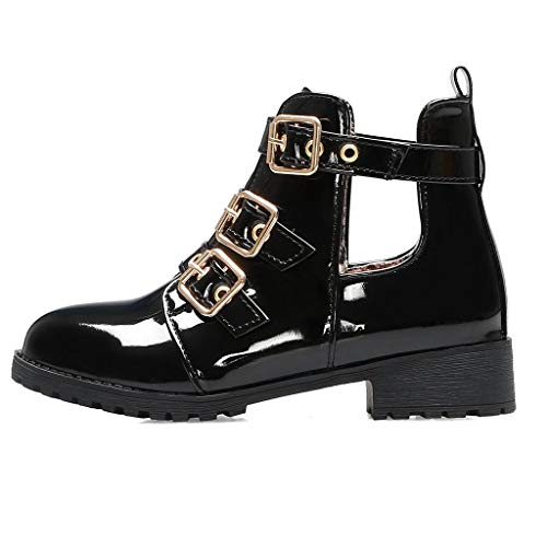 Midress Women Marten Buckles Metal Med Hallow Cover Heel Stylish Shoes Ankle Boots Buckle Strap Low Heel Vintage Shoes