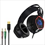 Yingui Computer Headset, Volume Control, with Microphone, Earmuffs, Wired Stereo Enhanced Bass Noise Reduction, PC Laptop Gaming Headset
