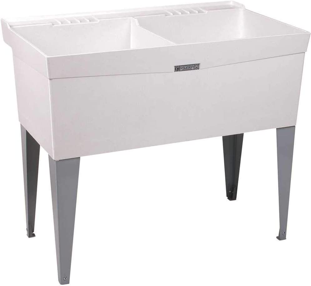 E.L. Mustee 26F Utilatwin Floor Mount Laundry Tub, White