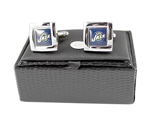 NBA Utah Jazz Square Cufflinks with Square Shape Logo Design Gift Box Set by aminco