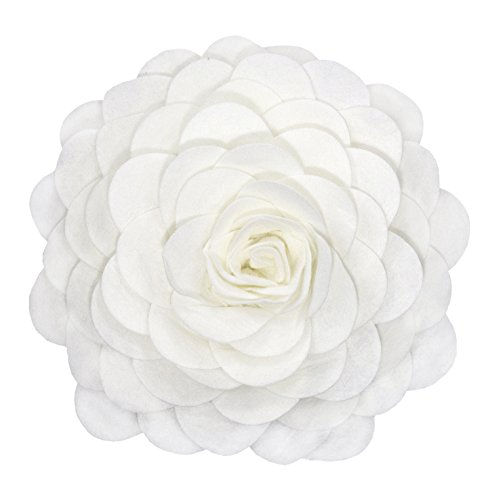 Fennco Styles Eva's Flower Garden Decorative Throw Pillow with Insert - 13 inch Round (Ivory, 13