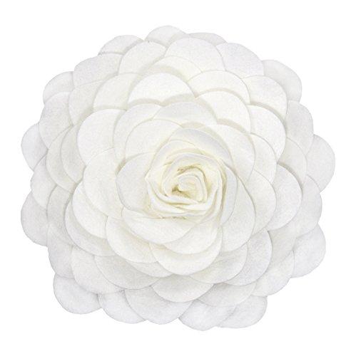 Flower Decorative Pillow - Fennco Styles Eva's Flower Garden Decorative Throw Pillow with Insert - 13 inch Round (Ivory, Case+Insert)