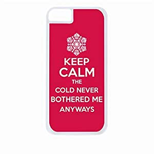 Keep Calm the Cold Never Bothered Me Anyway-Red- Hard White Plastic Snap - On Case-Apple Iphone 4 - 4s - Great Quality!