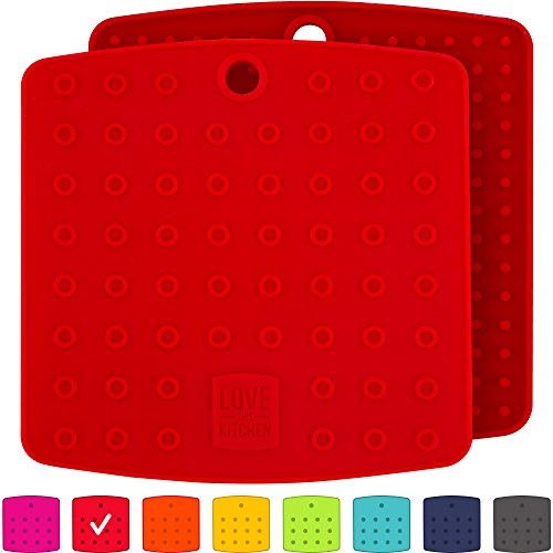 "Premium Silicone Trivet Mats / Hot Pads, Pot Holders, Spoon Rest, Jar Opener & Coasters - Our 5 in 1 Kitchen Tool is Heat Resistant to 442 °F, Thick & Flexible (7"" x 7"", Coral Red, Set of 2)"