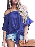 Asvivid Womens Solid Strapless 3 4 Bell Sleeve T Shirts Casual Chiffon Work Blouses Medium Blue