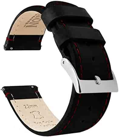 Barton Quick Release Top Grain Leather Watch Band Strap - Choose Color - 16mm, 18mm, 20mm, 22mm or 24mm - Black/Red Stitching 22mm