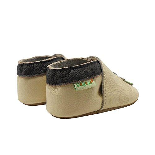 Sayoyo Suaves Zapatos De Cuero Del Bebé Zapatillas del árbol del pájaro blanco