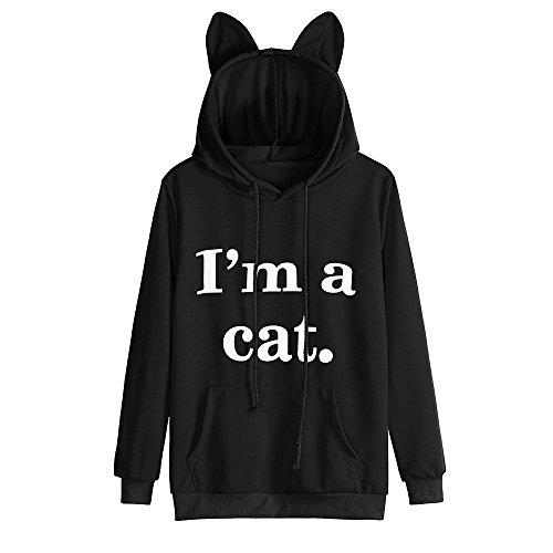 Free Kids Sweatshirt - Girls Hoodie, Misaky Womens Cat Ear Blouse Sweatshirt Hooded Pullover Tops (XL, S_Black)