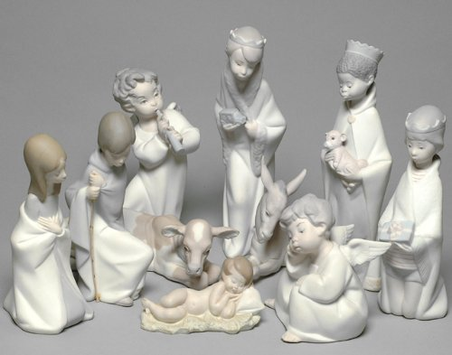 Nao by Lladro Collectible Porcelain Figurines: COMPLETE NATIVITY SET - 8 Individual Figurines w/ Mary, Joseph, Baby Jesus, the 3 Kings (Wisemen), Calf, and Donkey.