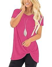 noabat Women's Stripe Color Block Tops Tunics Long Sleeve Crew Neck Plain Shirts