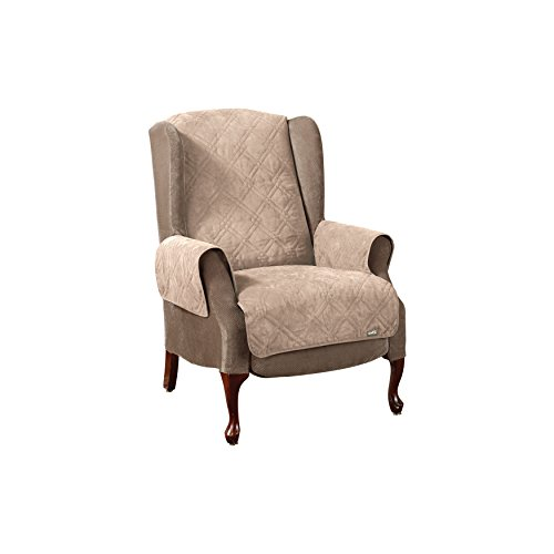 sure-fit-1-piece-soft-suede-pet-cover-wing-chair-recliner-taupe