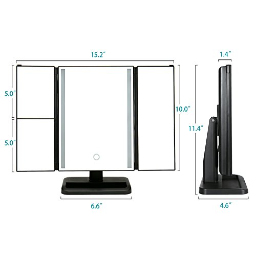 Solofish-Countertop-Lighted-Makeup-Mirror-LED-Light-Bar-Mirror-Tri-Fold-Natural-White-Light-Vanity-Mirror-and-Magnifying-Mirror-with-2X-3X-Magnification-180-Degree-Adjustable-Random-Angle-Mirrors