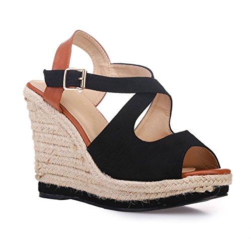 Sandales à Brides Noir en à Modeuse La compensées l'avant suédine croisées q5gfZ4w