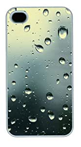 iphone 4 cases custom Water droplets N004 PC White for Apple iPhone 4/4S