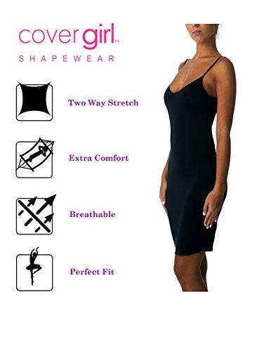 Cover Girl Seamless Full Slip for Women Fitted Stretch Whole Undergarment Slips (Black, (Slip Stretch Full Slip)