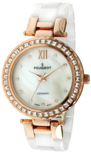 (Peugeot Women's White Ceramic Swiss Movement 14K Rose Gold Plated Mother of Pearl Face Crystal Dress Watch PS4881RG)