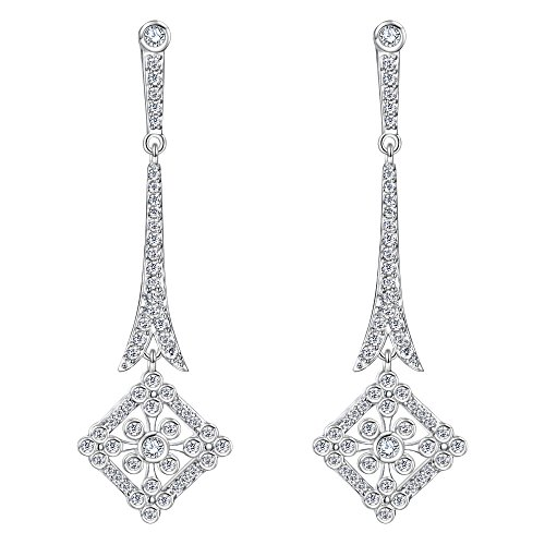EVER FAITH Wedding Art Deco Royal Gatsby Inspired Chandelier Earrings Pave Zircon Clear Silver-Tone