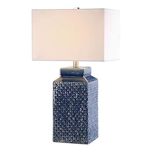 Blue Glaze Ceramic Table Lamp - Uttermost 27229-1 Pero - One Light Table Lamp, Textured/Sapphire Blue Glaze/Brushed Nickel Finish with White Linen Fabric Shade