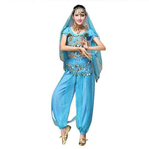 [Vanvler Women Belly Dance Outfit Costume India Dance Clothes Top+Pants With Sequins (Sky Blue)] (India Costume Female)